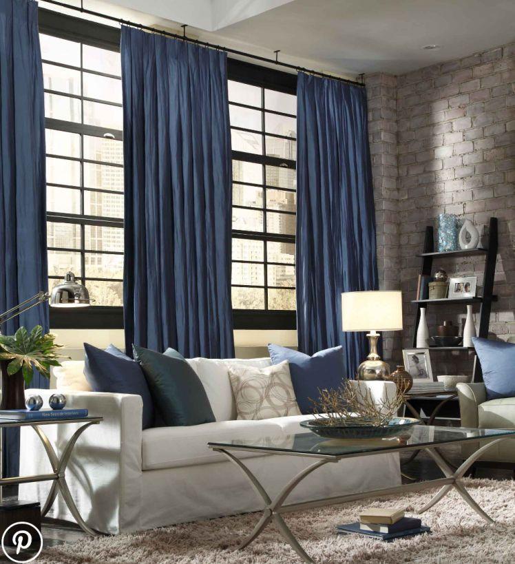 Zaslony I Karnisze W Salonie Blue Curtains Living Room Curtains Living Room Blue Living Room