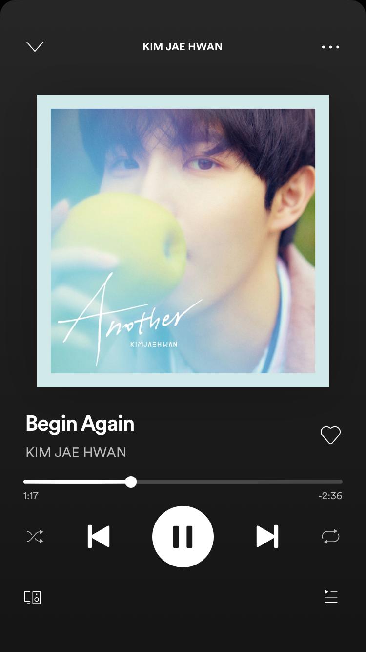 Begin Again, a song by KIM JAE HWAN on Spotify in 2020