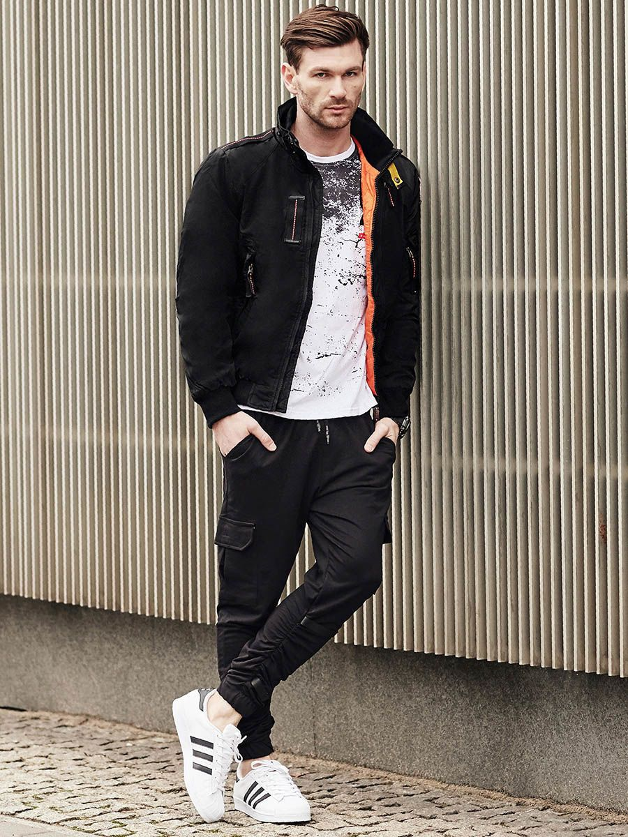 Stylizacja Nr 377 Zegarek Kurtka Zimowa Longsleeve Z Nadrukiem Dresowe Joggery Long Sleeve Tops Black Joggers Urban Street Style