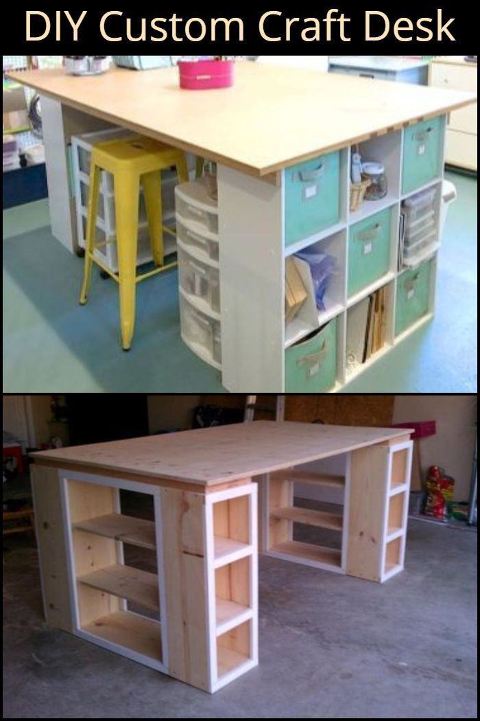Learn How To Build A Custom Craft Desk In This Step By Step Tutorial Diy Craft Room Craft Desk Craft Table Diy