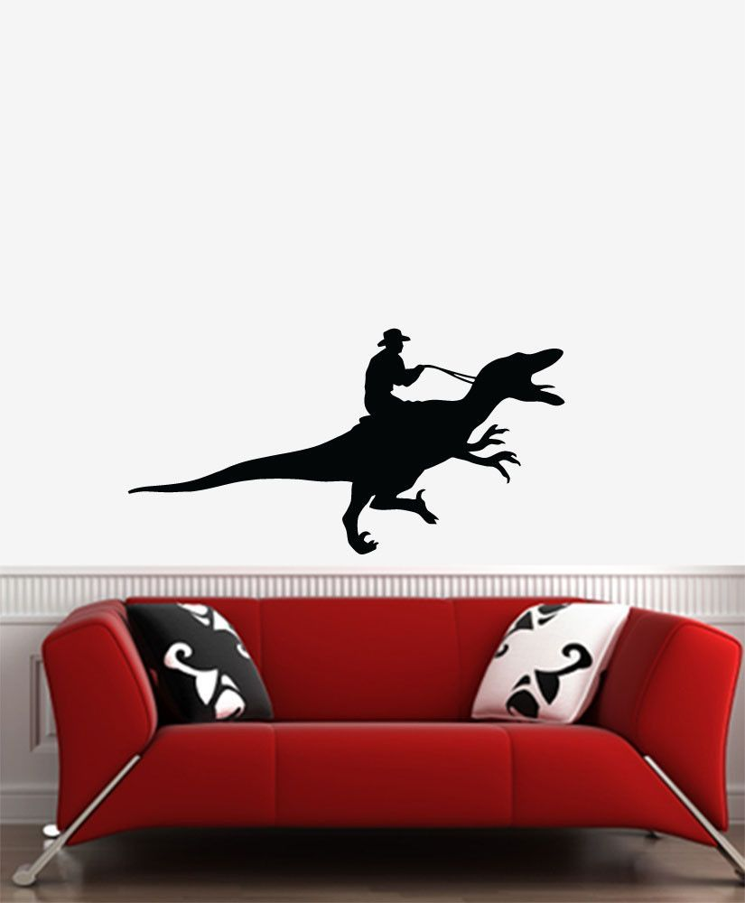 WALL - Raptor Rodeo Dinosaur Cowboy - Wall Vinyl Decal (Color and Size Choices)