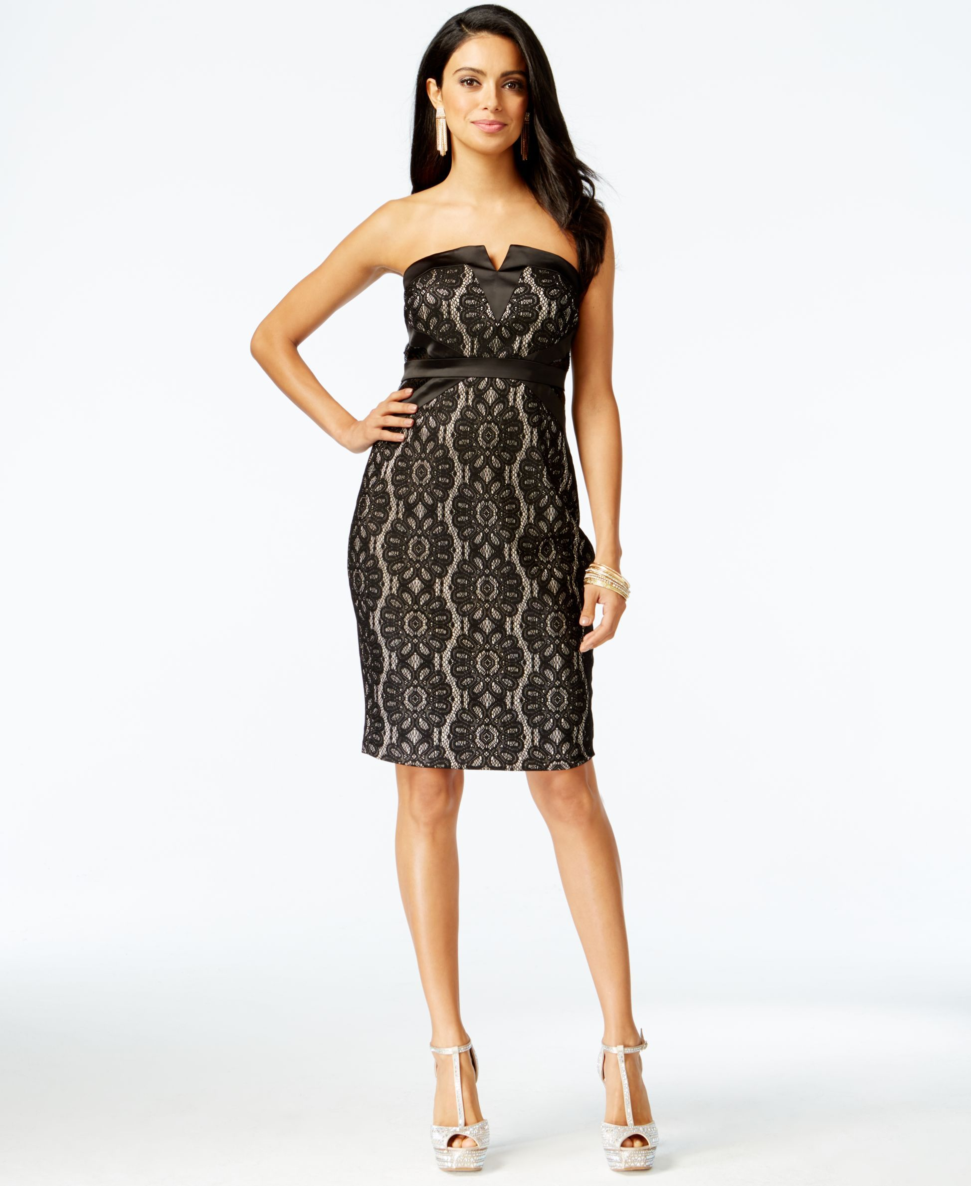 Thalia Sodi Embellished Lace Strapless Dress, Only at Macy's ...