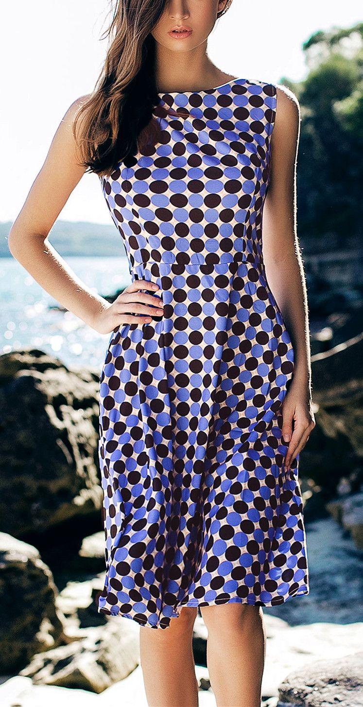 Polka Dot Print Vintage Boat Neck Sleeveless Dress For Women | Traje ...
