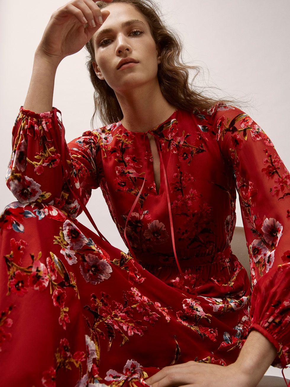 9ce820991161 Fall Winter 2017 Women´s SILK DRESS WITH VELVET PRINT at Massimo Dutti for  195. Effortless elegance!