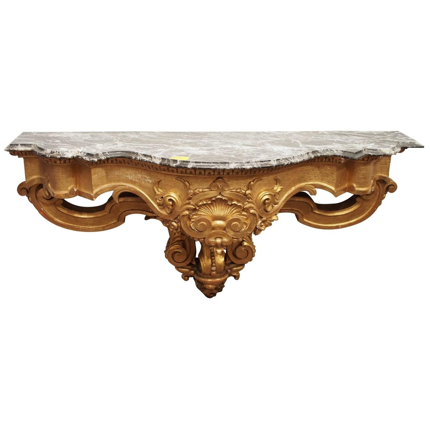 Beautiful Gilded Wall Mount 19th Century French Console | From A Unique  Collection Of Antique And