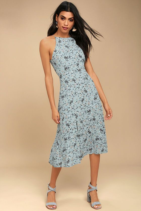 6af6eed1ae46 The ASTR the Label Pascal Light Blue Floral Print Midi Dress is a wish come  true