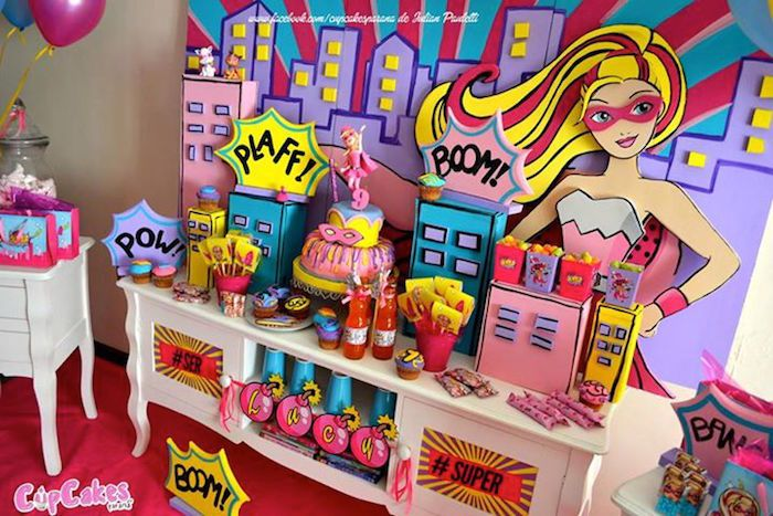 Sweet Table from a Superhero Barbie Birthday Party via Karas