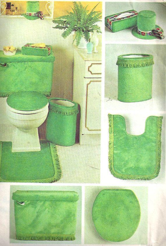 1970s Bathroom Set Pattern Decorator Toilet Tank Tissue Toilet