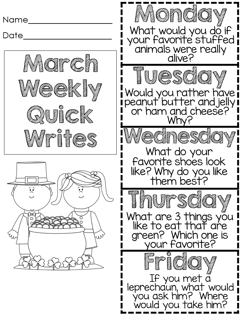 St. Patrick\'s Day - March Quick Writes | Prompts, March and Template