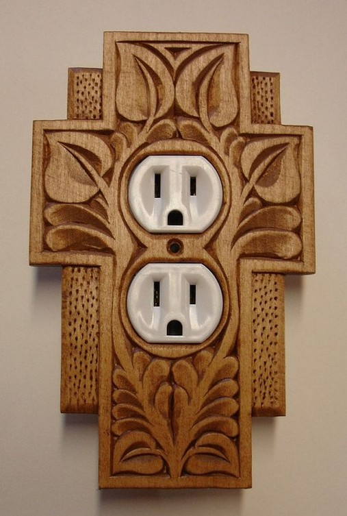 Decorative Electrical Wall Plates Wood Carving Wood Burn