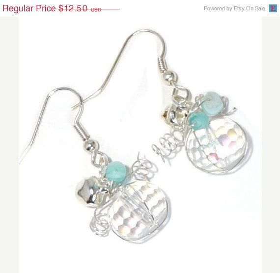 Snow Ball Earrings by BrankletsNBling on Etsy, $10.00