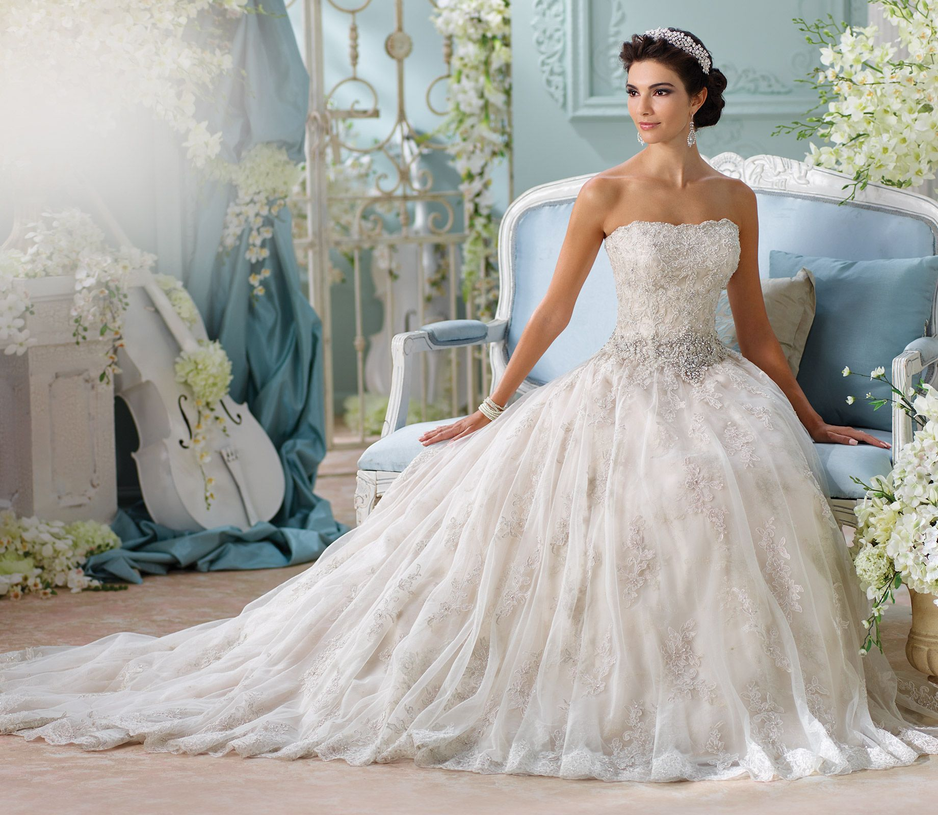 Metallic embroidered lace tulle ball gown wedding dress