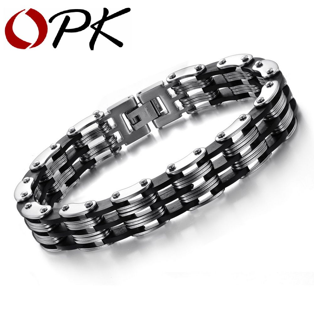Opk jewelry hot selling free shipping stainless steel bracelets men