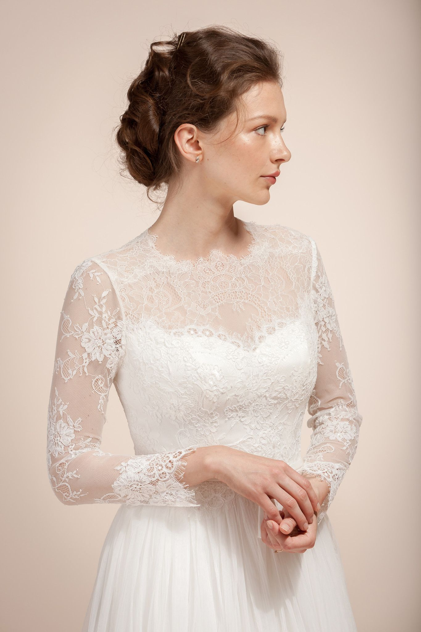 Lace wedding dress, Bridal dress with Chantilly lace sleeves ...