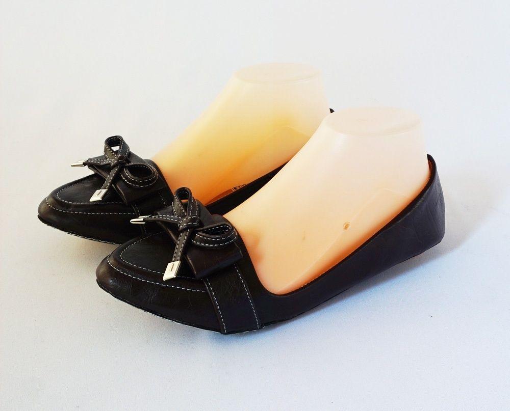 Sepatu Flat Ribbon Warna Hitam Bahan Kulit Sintetis Sku Dckuam
