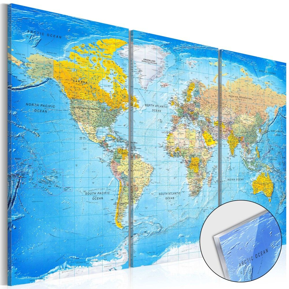 The Print On Glass World Map Song Of The Oceans Is Just Perfect - The physical world map oceans