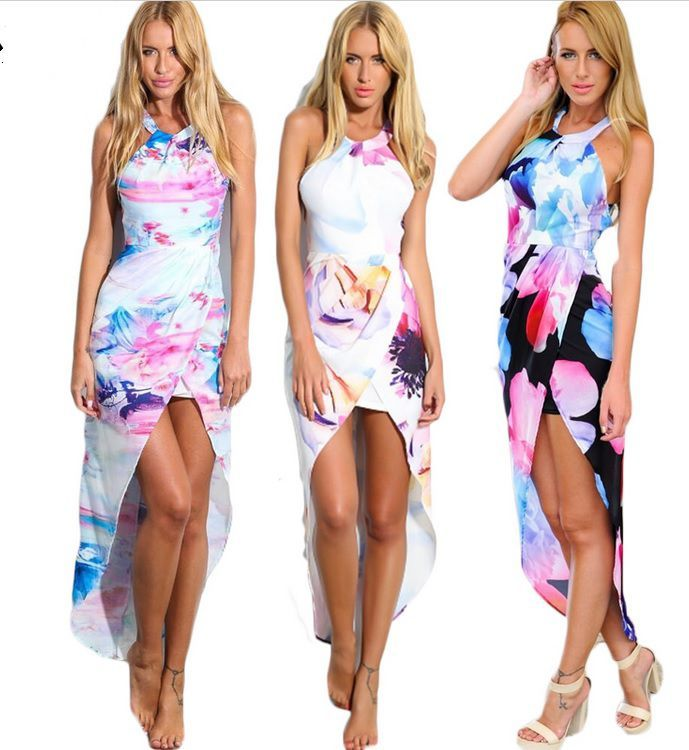 Luxuosos Vestidos Assimétricos Estampa Floral Sem Manga