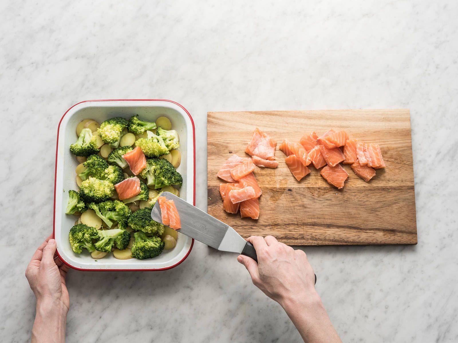 Salmon and broccoli casserole #potatowedgesselbermachen