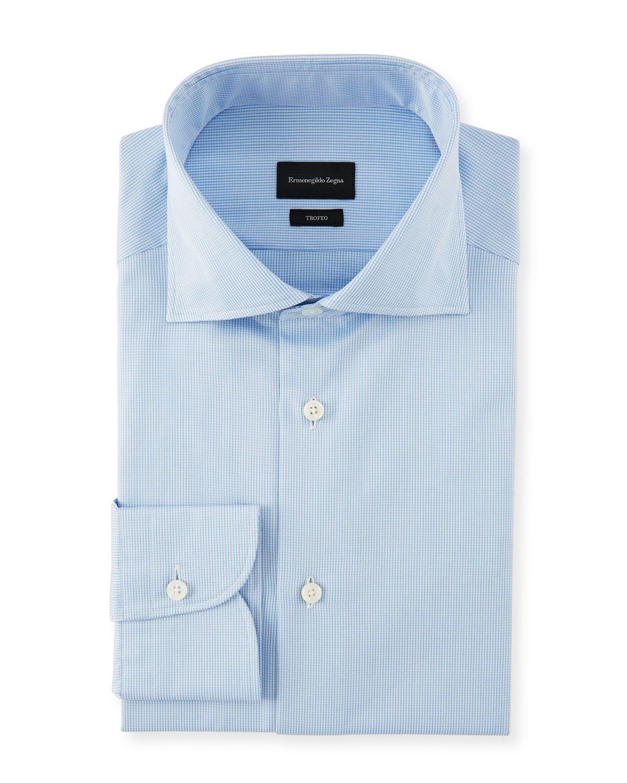 f3aeac0e ERMENEGILDO ZEGNA MEN'S COTTON CHECK DRESS SHIRT. #ermenegildozegna ...