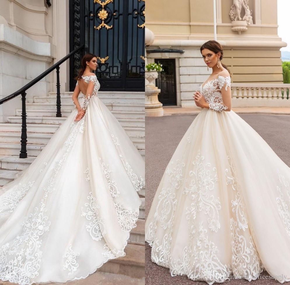 7a8b84e232bf Discount 2018 Milla Nova Wedding Dresses A Line Satin Backless Sweep Train  Long Sleeve Wedding Gowns Bateau Neck Winter Bridal Dress Plus Size  Princess ...