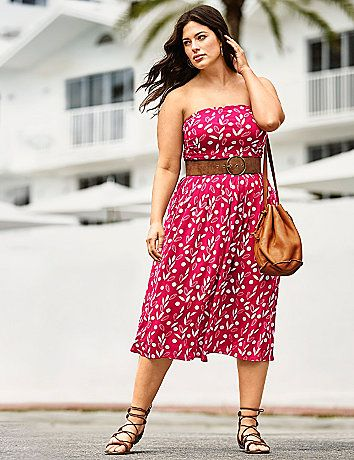 c2e40d7d08 Strapless Convertible Midi Dress in Vacation Floral by Lane Bryant ...