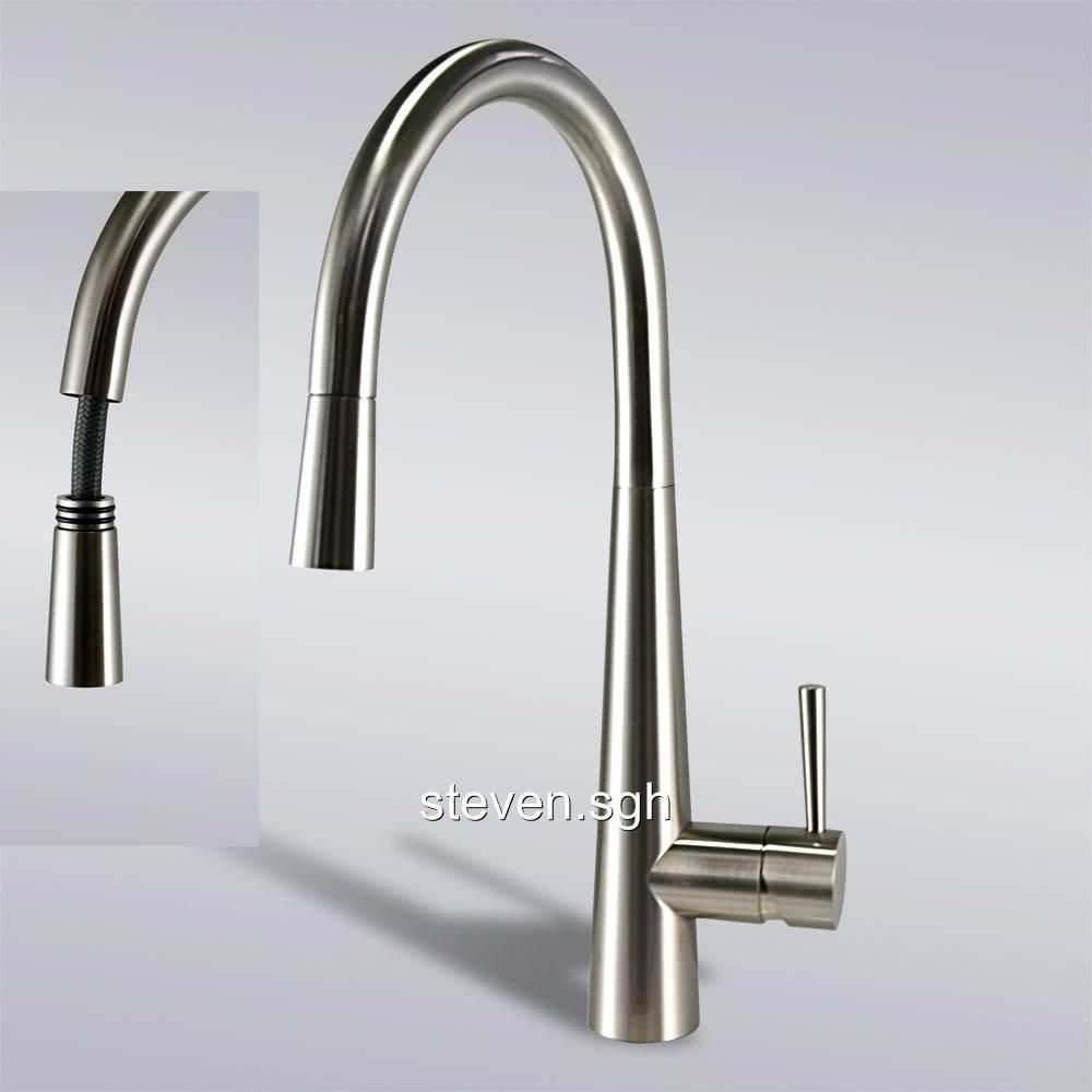 Modern Pull Out Spray Valve Taps Kitchen Faucets Brushed Nickel Home Products Faucet Diverter For D Brushed Nickel Kitchen Faucet Kitchen Faucet Pantry Remodel
