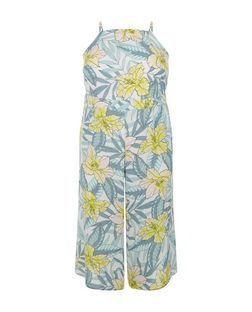 2c64b2585892c Plus Size White Floral Print Culotte Jumpsuit