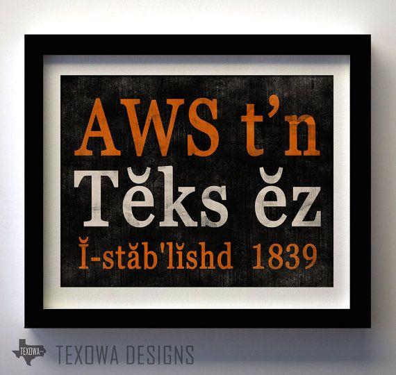Austin, Texas Phonetic Art Print