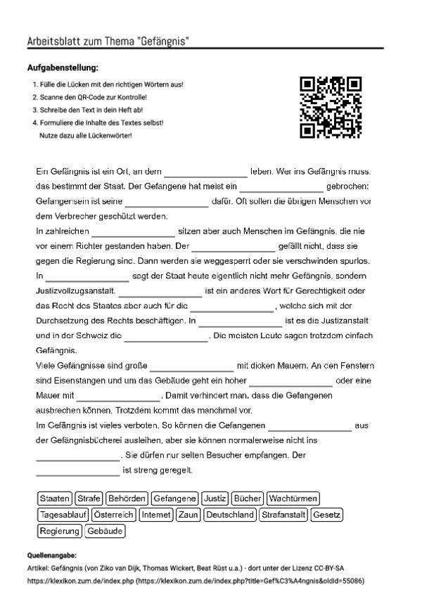 arbeitsblatt mit l ckentext zum thema gef ngnis unterricht schule arbeitsbl tter schule. Black Bedroom Furniture Sets. Home Design Ideas