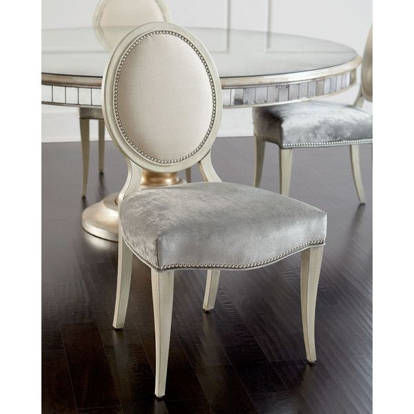 Massoud Gwyneth Dining Chair (€1.380) ❤ liked on Polyvore featuring home, furniture, chairs, dining chairs, cream, italian furniture, antique white dining chairs, antique white chairs, nailhead chair and nailhead dining chair