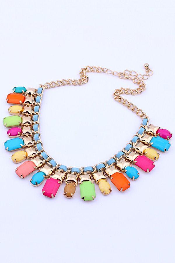 Multicolor Layered Bib Necklace OASAP.com
