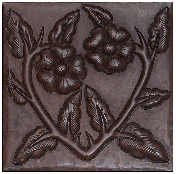 Copper Tile | Floral Vine Design | Copper Sinks Direct