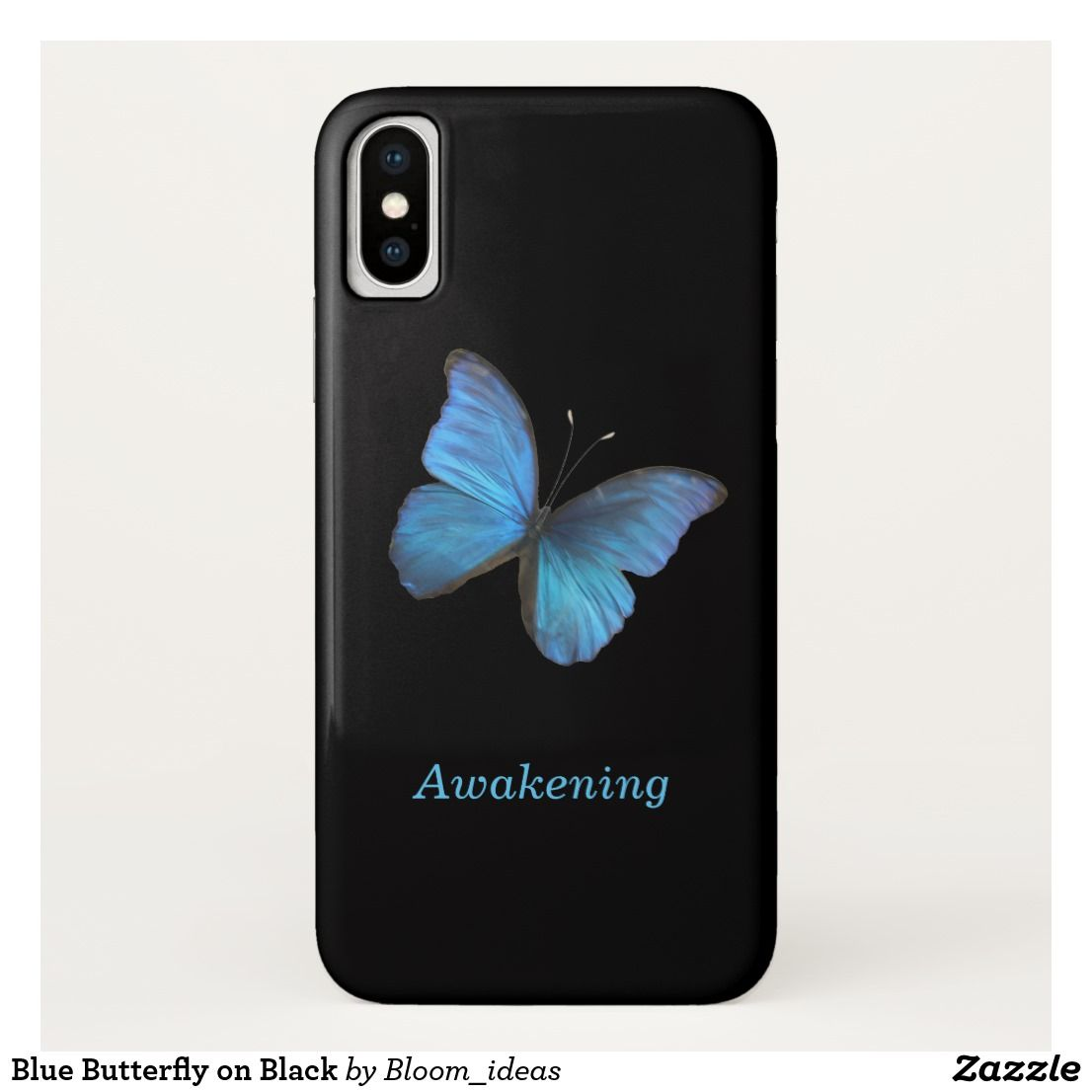 Blue butterfly on black casemate iphone case
