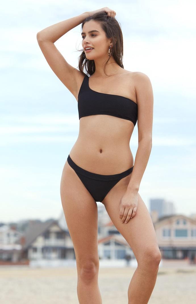 7fbac6ffdf975 Billabong Tan Lines One Shoulder Bikini Top - Lt Pink Lrg