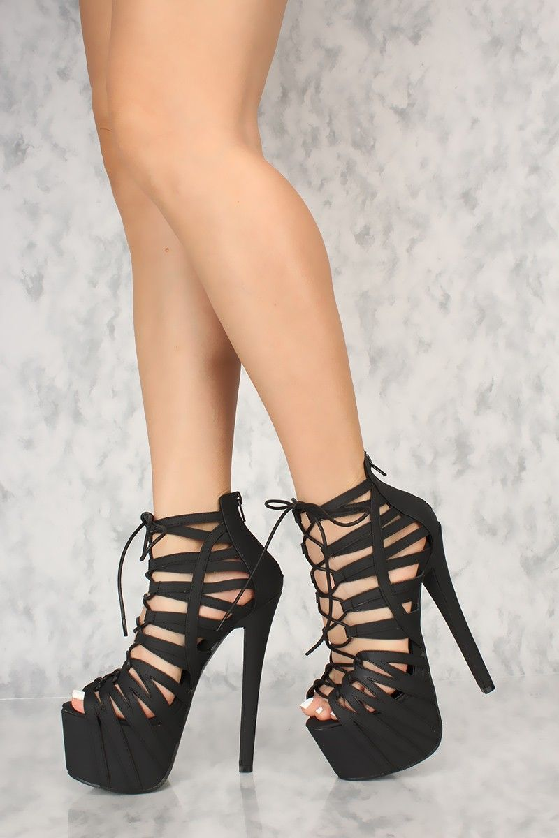 60d029b78312 Black Strappy Lace Up Platform Bootie High Heels Faux Leather in ...