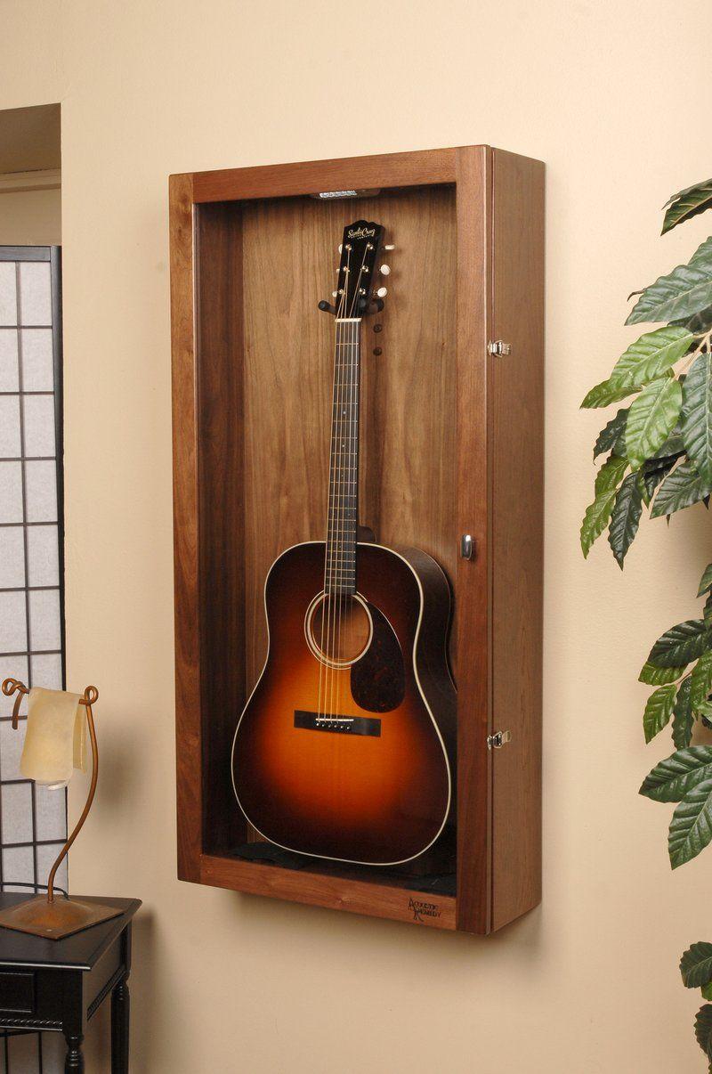 Walnut Rectangle Wall Model Guitar Display Case Guitar Display Guitar Case