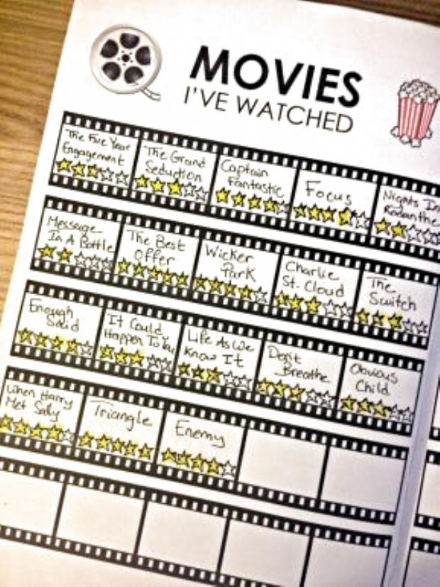 Bullet Journal Movie Tracker Printable