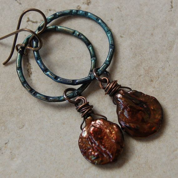 Copper Keishi Pearl and Peacock Patina Metal by Pobbletoes on Etsy, $30.00
