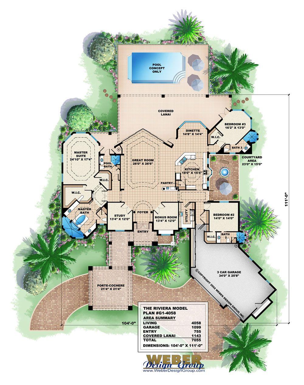 Mediterranean House Plan Waterfront Or Golf Course Home Floor Plan In 2020 Mediterranean House Plan Mediterranean Homes Home Design Plans