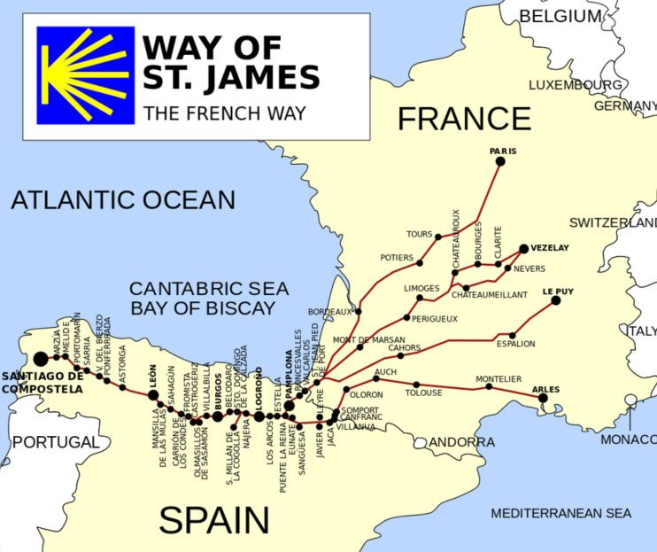 Vezelay France Map.The Way Of St James The French Way Concluding At The Santiago De