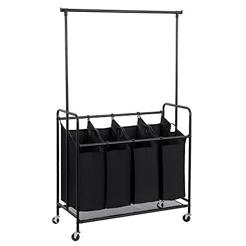 Hollyhome 4 Bag Rolling Laundry Sorter Cart With Hanging Laundry Sorter Small Laundry Rooms Hanging Bar