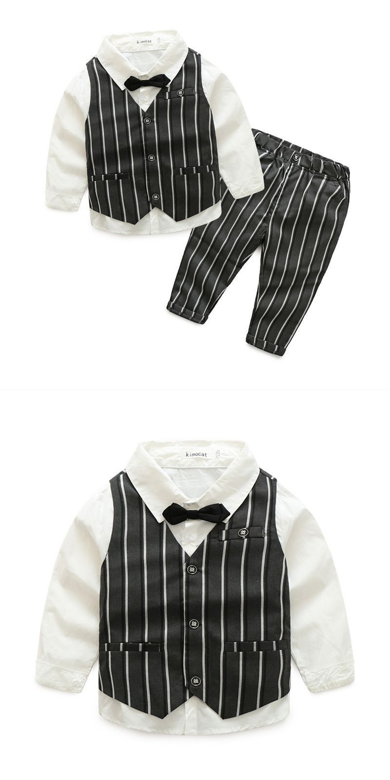 e3b60e0e7a42 Gentlemen boys 4 pcs white shirts and stripes printed vests and pants with  bow tie #