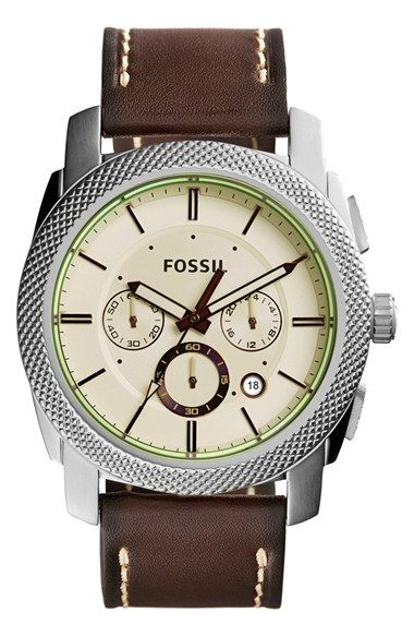 Fossil 'Machine' Chronograph Bracelet Watch, 46mm