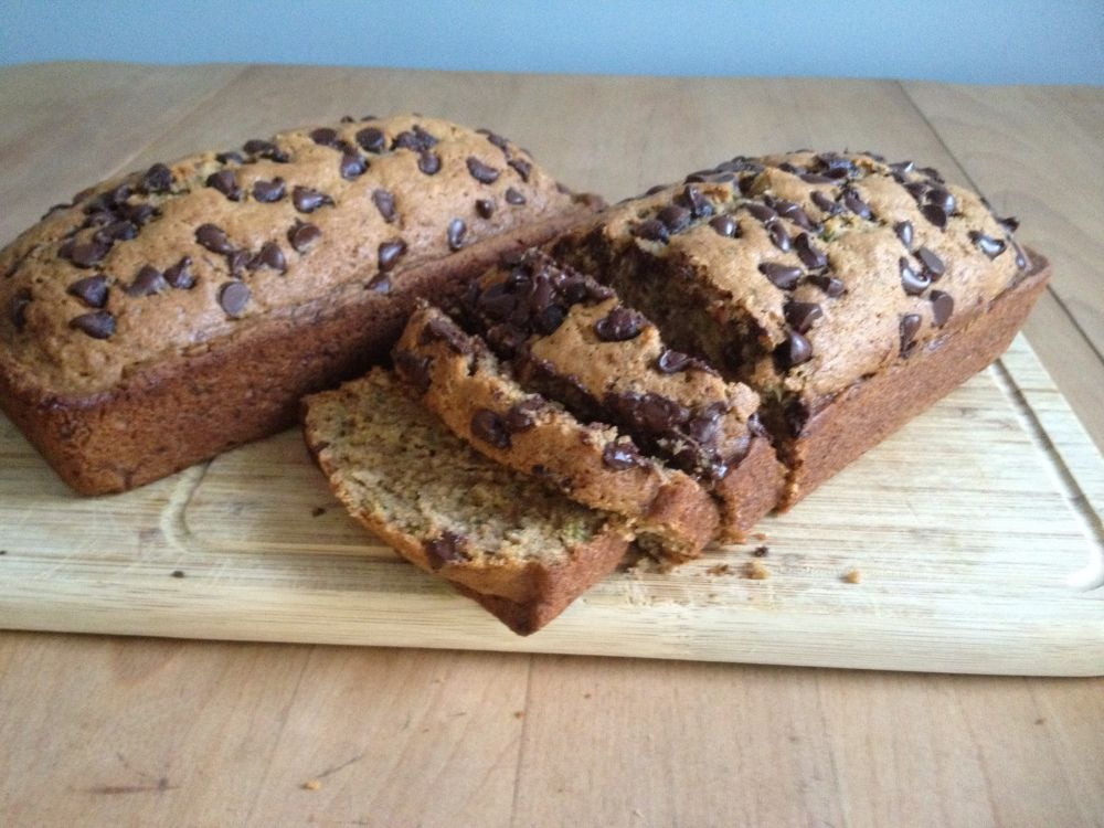"""""""My Mother's Zucchini Bread"""" seriously the best zucchini bread I have ever tasted! I left out the cinnamon and nutmeg, and replaced the oil with Applesauce. Chocolate chips on top did not sink but it was sooooo good!!!!!"""