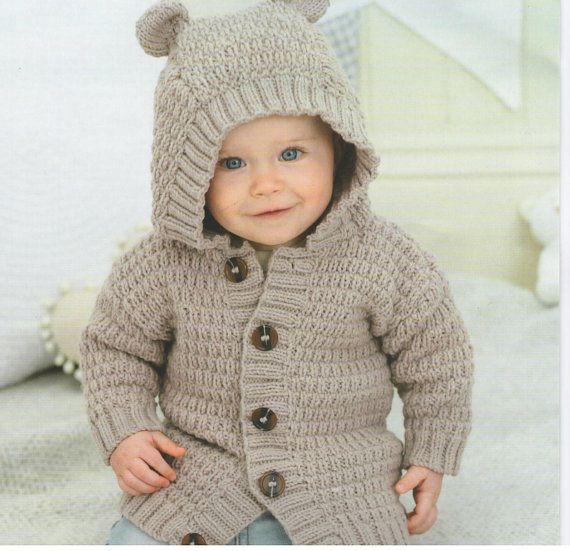 Vintage Pattern Baby sweater cardigan knitting aran Knit retro ...