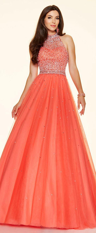 Brilliant tulle high collar neckline ball gown quinceanera dresses