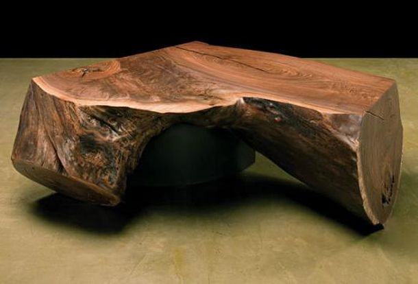 black-walnut-side-table-with-steel-legs | tree stump stuff