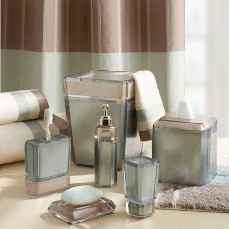 The Barron Taupe Bath Collection Features Handsome Blue And Taupe G Bathroom Collections Blue Bathroom Accessories Small Bathroom Decor