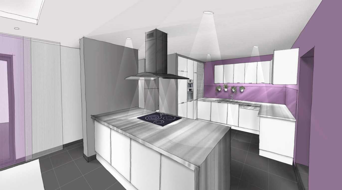 Cuisine Blanc Gris Violet cuisine blanc gris inox prune www.archi-cochez