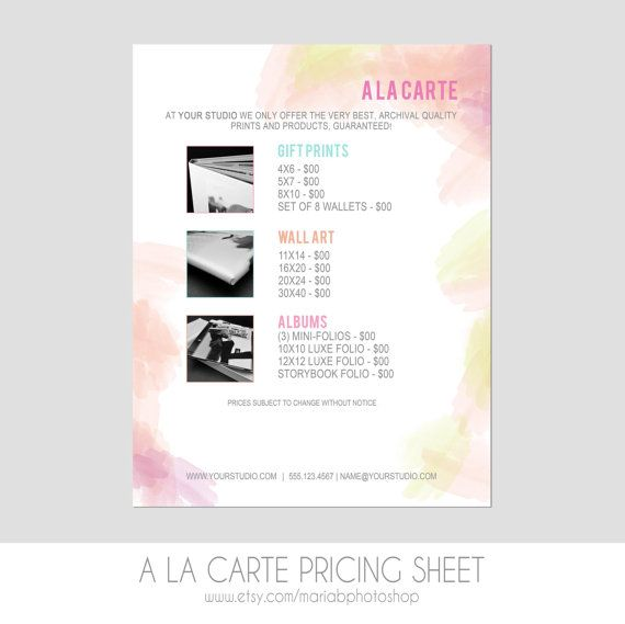 Sell Sheet A La Carte Pricing Template By Mariabpaints On Etsy